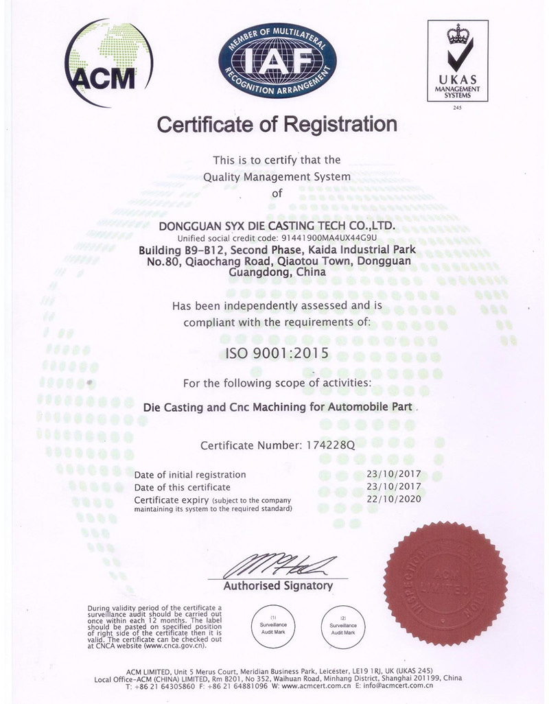 Certification Die Casting Stamping Cnc Services